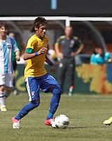 Brazil forward Neymar (11) at midfield. In an international friendly (Clash of Titans), Argentina defeated Brazil, 4-3, at MetLife Stadium on June 9, 2012.
