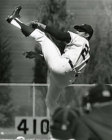 S.F Giants pitcher Juan Marichal with his high leg kick delivers a pitch. (copyright 1966 Ron Riesterer(