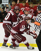 Francois Brisebois (Colgate - 13), Kevin McNamara (Colgate - 10), Marshall Everson (Harvard - 21) - The Harvard University Crimson defeated the visiting Colgate University Raiders 6-2 (2 EN) on Friday, January 28, 2011, at Bright Hockey Center in Cambridge, Massachusetts.