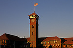 Main depot Union Station Clock Tower railroad station downtown sunset Portland Oregon State USA