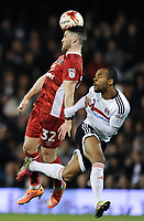 Blackburn Rovers' Craig Conway battles for possession with Fulham's Dennis Odoi<br /> <br /> Photographer /Ashley WesternCameraSport<br /> <br /> The EFL Sky Bet Championship - Fulham v Blackburn Rovers - Tuesday 14th March 2017 - Craven Cottage - London<br /> <br /> World Copyright &copy; 2017 CameraSport. All rights reserved. 43 Linden Ave. Countesthorpe. Leicester. England. LE8 5PG - Tel: +44 (0) 116 277 4147 - admin@camerasport.com - www.camerasport.com
