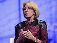 National Harbor, MD - February 23, 2017: U.S. Secretary of Education Betsy DeVos participates in a live interview by Kayleigh McEnany during the Conservative Political Action Conference at the Gaylord National Hotel in National Harbor, MD, February 23, 2017.  (Photo by Don Baxter/Media Images International)