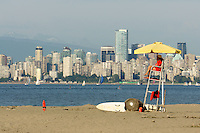 Female lifeguard on Jericho Beach, Vancouver, British Columbia, Canada