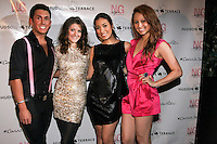 Steven Aninch, Emily Endean, Stephanie Luzuriaga, and Ashley Crossman pose during the EngieStyle one year anniversary, &quot;A Tale of the Black Dress&quot;, fashion presentation.