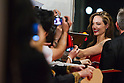 November 9, 2011: Tokyo, Japan - US actress Angelina Jolie signs autographs for fans during the Japan red carpet premiere for the film 'Moneyball'. The film will be released in Japanese theaters from November 11. (Photo by Christopher Jue/Nippon News)