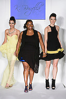 Fashion designer Kareen Borgella, walks runway with models at the close of her K. Borgella Spring Summer 2012 fashion show, during Nolcha Fashion Week: New York 2011