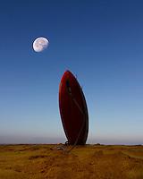 "Moon over ""Surf Board Mountain"" at Waimea Bay, North Shore, O'ahu."