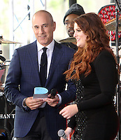 NEW YORK, NY-June 21: Matt Lauer, Megan Trainor perform on NBC's Today Show Citi Concert Series at Rockefeller Center in New York. NY June 21, 2016. Credit:RW/MediaPunch