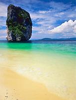 Seastack and Deserted Beach, Hat Nopparat Thara and Mu Ko Phi Phi Marine National Park, Thailand