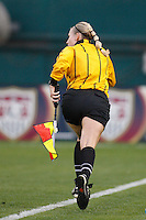 An assistant referee follows the play. The women's national team of the United States defeated Canada 6-0 during an international friendly at Robert F. Kennedy Memorial Stadium in Washington, D. C., on May 10, 2008.