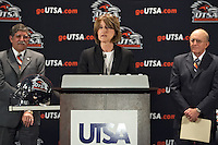 SAN ANTONIO, TX - SEPTEMBER 6, 2009: Larry Coker is introduced as the first Head Football Coach of the University of Texas at San Antonio Roadrunners football team. (Photo by Jeff Huehn)