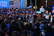 Harrisburg, PA - July 29, 2016: Democratic vice presidential candidate Sen. Tim Kaine speaks to supporters in Harrisburg, PA, during a campaign stop on the Clinton/Kaine bus tour July 29, 2016. Bill Clinton and Kaine's wife Anne Holton (r) also appeared during the campaign stop.  (Photo by Don Baxter/Media Images International)