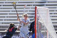 Towson, MD - March 5, 2017: Towson Tigers Samantha Brookhart (1) scores a goal during game between Towson and Florida at  Minnegan Field at Johnny Unitas Stadium  in Towson, MD. March 5, 2017.  (Photo by Elliott Brown/Media Images International)