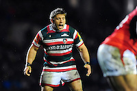 Tom Youngs of Leicester Tigers calls out. Aviva Premiership match, between Leicester Tigers and Saracens on January 1, 2017 at Welford Road in Leicester, England. Photo by: Patrick Khachfe / JMP