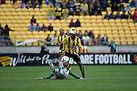 Rolieny Bonevacia in action during the A League - Wellington Phoenix v Newcastle Jets Game at Westpac Stadium, Wellington, New Zealand on Sunday 26 October 2014. <br /> Photo by Masanori Udagawa. <br /> www.photowellington.photoshelter.com.