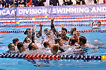 24 MAR 2012:  Members of the University of California men's team celebrate in the pool after winning the Division I Men's Swimming and Diving Championship held at the Weyerhaeuser King County Aquatic Center in Seattle, WA.  Rod Mar/ NCAA Photos