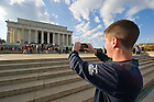 Nov. 11, 2011; Band member Mark Whitson takes a photo of the Lincoln Memorial in Washington D.C...Photo by Matt Cashore/University of Notre Dame