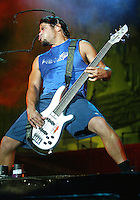 Robert Trujillo and Metallica performat the Los Angeles Memorial Coliseum during the 2003 Summer Sanitarium Tour