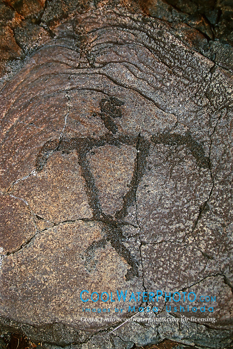 Petroglyph, representing an ideal broad-shouldered Hawaiian male, Pu`u Loa, Puu Loa, Pu`uloa or Puuloa Petroglyph Trail, Hawaii Volcanoes National Park, Kilauea, Big Island, Hawaii