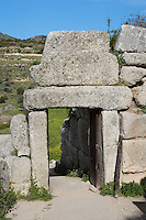 MYCENAE, GREECE - APRIL 13 : A general view of the North Gate on April 13, 2007 in Mycenae, Peloppenese, Greece. Mycenae, a hill top citadel, was the most important place in Greece from c. 1600 to c. 1100 BC. It was first completely excavated by German archaeologist Heinrich Schliemann between 1874 and 1878. The North Gate, seen in the afternoon sun, is a smaller undecorated version of the Lion Gate, approached by a lane and set into massive stone walls. (Photo by Manuel Cohen)