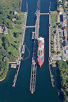 Kanalschleuse Kiell: EUROPA, DEUTSCHLAND, SCHLESWIG- HOLSTEIN,  (GERMANY), 06.09.2013: Kanalschleuse Kiel, noerdliches Ende des Nord-Ostsee-Kanal (NOK), internationaler Name Kiel-Canal, wurde zwischen 1887-1895 gebaut (Erweiterung 1907-14) und ist fast 100 km lang. Der NOK ist eine Bundeswasserstrasse und der meistbefahrene Kanal der Welt.
