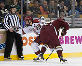 Alex Fallstrom (Harvard - 16), Kevin Hayes (BC - 12) - The Boston College Eagles defeated the Harvard University Crimson 4-1 in the opening round of the 2013 Beanpot tournament on Monday, February 4, 2013, at TD Garden in Boston, Massachusetts.