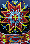 Close up of Native American Pow Wow Regalia. Example of ethnic pride, heritage and traditional folk art crafts