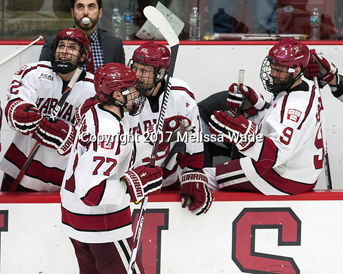 Rob Rassey (Harvard - Assistant Coach), Phil Zielonka (Harvard - 72), Lewis Zerter-Gossage (Harvard - 77), Jake Horton (Harvard - 19), Luke Esposito (Harvard - 9) - The Harvard University Crimson defeated the Yale University Bulldogs 6-4 in the opening game of their ECAC quarterfinal series on Friday, March 10, 2017, at Bright-Landry Hockey Center in Boston, Massachusetts.