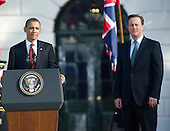 United States President Barack Obama makes remarks as he and first lady Michelle Obama welcome Prime Minister David Cameron of Great Britain and his wife, Samantha, to the White House in Washington, D.C. on Wednesday, March 14, 2012..Credit: Ron Sachs / CNP