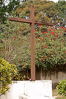 Wooden cross said to be made of wood from a Spanish sailing ship, La Antigua, Veracruz, Mexico