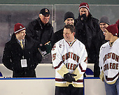 Tommy Atkinson (BC - 28), Jerry York (BC - Head Coach), Craig Janney, Patrick Wey (BC - 6), Greg Brown (BC - Assistant Coach), Brooks Dyroff (BC - 14), Marty McInnis - The Boston University Terriers defeated the Boston College Eagles 3-2 on Friday, January 8, 2010, at Fenway Park in Boston, Massachusetts, as part of the Sun Life Frozen Fenway doubleheader.