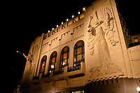View at night of the Bass Performance Hall in Fort Worth, Texas. Ball Hall is a 2056-seat mulipurpose designed in the style of a classic European opera house with two 48-foot tall angels on the facade.