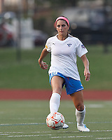 Boston Breakers defender Bianca D'Agostino (19) passes the ball. In a Women's Premier Soccer League Elite (WPSL) match, the Boston Breakers defeated New England Mutiny, 4-2, at Dilboy Stadium on June 20, 2012.