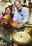 TORRINGTON CT. 19 April 2017-041917SV05-Al and Bev Michalowski of Country Clocks work in their store in Torrington Wednesday.<br /> Steven Valenti Republican-American