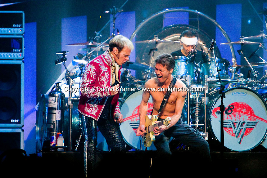 David Lee Roth performs with Van Halen at the Toyota Center in Houston, Texas on January 28, 2008. This was the first Van Halen tour with original singer David Lee Roth since he left the band in 1985.
