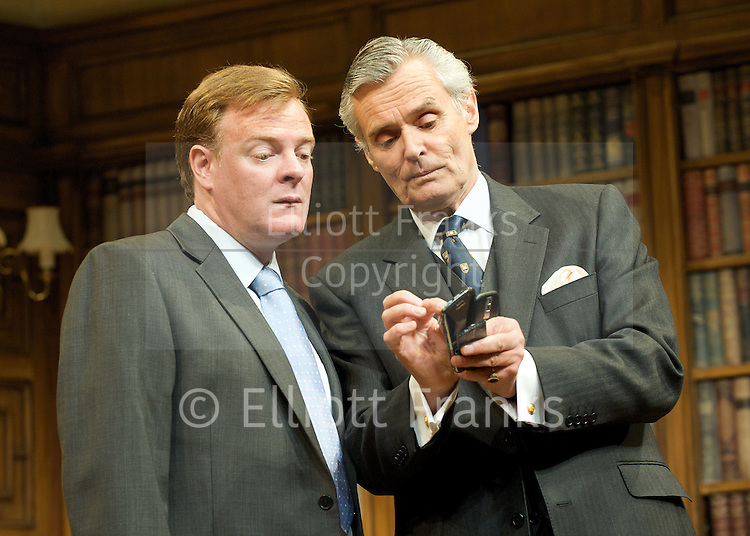 Yes, Prime Minister<br /> by Antony Jay &amp; Jonathan Lynn<br /> at the Apollo Theatre, London, Great Britain <br /> Press Photocall<br /> 6th July 2011 <br /> <br /> Simon Williams (as Sir Humphrey Appleby)<br /> Chris Larkin (as Bernard Woolley)<br /> <br /> <br /> <br /> Photograph by Elliott Franks
