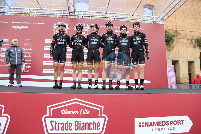 Wiggle High5 team at sign on before the start of the Ladies 2017 Strade Bianche running 127km from Siena to Siena, Tuscany, Italy 4th March 2017.<br /> Picture: Eoin Clarke | Newsfile<br /> <br /> <br /> All photos usage must carry mandatory copyright credit (&copy; Newsfile | Eoin Clarke)