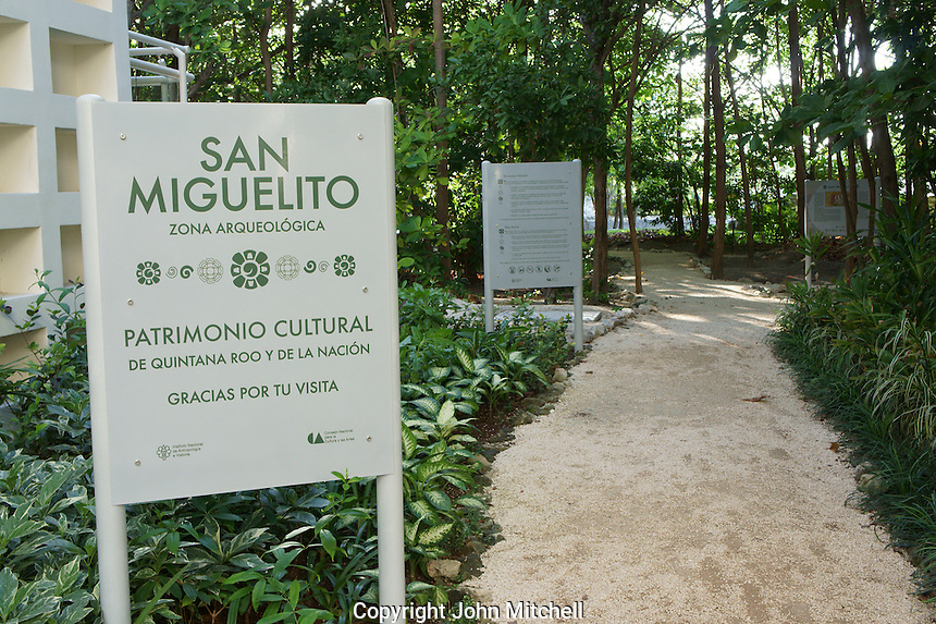 Entrance to the San Miguelito archaeological site adjacent to the new Museo Maya de Cancun museum, Cancun, Mexico      .