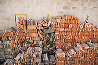 Pile of bricks collected from demolished building, Shanghai, China.