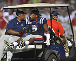 Ole Miss' Wayne Dorsey (7) is helped off the field with an injured arm at Vaught-Hemingway Stadium in Oxford, Miss. on Saturday, October 14, 2011. Alabama won 52-7.