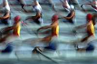 A blur of motion at the start of competition during the Australian Nationa Rowing Championships at Penrith, Sydney Australia.