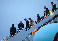 United States President Barack Obama (L), followed by former US President Bill Clinton, US Secretary of State John Kerry, and House Minority Leader Nancy Pelosi walk off Air Force One upon their returns to Andrews Air Force Base form Israel, where they attended the funeral of Shimon Peres, in Maryland, USA, 30 September 2016.<br /> Credit: Jim LoScalzo / Pool via CNP /MediaPunch