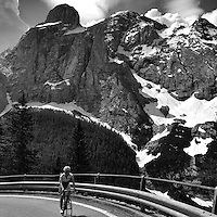 """Ascending Passo Fedaia, also known as the """"Marmolada"""", in the heart of the Dolomites, Südtirol (South Tyrol), Italy."""