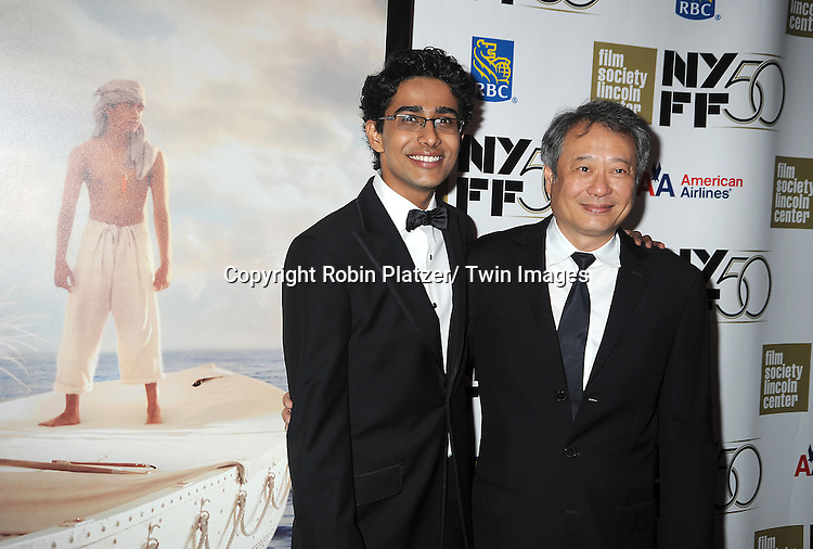 """director Ang Lee and Suraj Sharma attendsthe 50th Annual New York Film Festival Opening Night Gala presentation of """"Life of Pi"""" starring Suraj Sharma and directored by Ang Lee on September 28, 2012 in New York City. The screening was at Alice Tully Hall at Lincoln Center."""