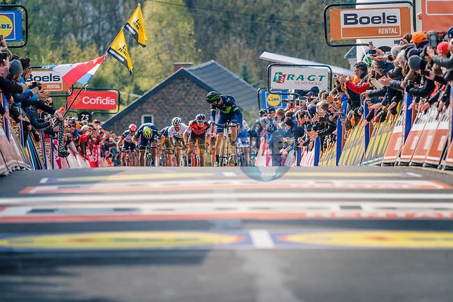 Alejandro Valverde (ESP) Movistar Team outclimbs the pack to win his 5th title at the end of La Fleche Wallonne 2017, Huy, Belgium. 19th April 2017. Photo by Thomas van Bracht / PelotonPhotos.com
