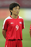 09 August 2008: Ri Un Suk (PRK).  The women's Olympic soccer team of Brazil defeated the women's Olympic soccer team of North Korea 2-1 at Shenyang Olympic Sports Center Wulihe Stadium in Shenyang, China in a Group F round-robin match in the Women's Olympic Football competition.