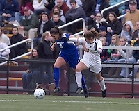 Hofstra University forward Salma Tarik (8) attempts to control the ball as Boston College defender Hannah Cerrone (11) pressures. Boston College defeated Hofstra University, 3-1, in second round NCAA tournament match at Newton Soccer Field, Newton, MA.