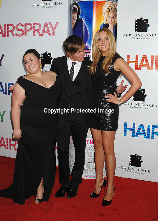 """Nikki blonsky and Zac Efron and Amanda Bynes..arriving at the New York Premiere of """"Hairspray"""" on         July 16, 2007 at The Ziegfeld Theatre. ..Robin Platzer, Twin Images......212-935-0770"""
