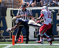 Pitt freshman wide receiver Tyler Boyd (23) dives into the endzone to score his first college touchdown on a 33-yard touchdown run. The Pitt Panthers defeated the New Mexico Lobos 49-27 on Saturday, September 14, 2013 at Heinz Field, Pittsburgh, Pennsylvania.
