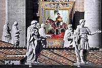"""A tapestry hanged on the facade of St Peter's basilica shows a portrait of Jose Gabriel Brochero il Pope Francis canonises Argentine """"gaucho priest"""" Jose Gabriel Brocheroledduring a canonization mass   on at St Peter's square in Vatican. October 16, 2016"""